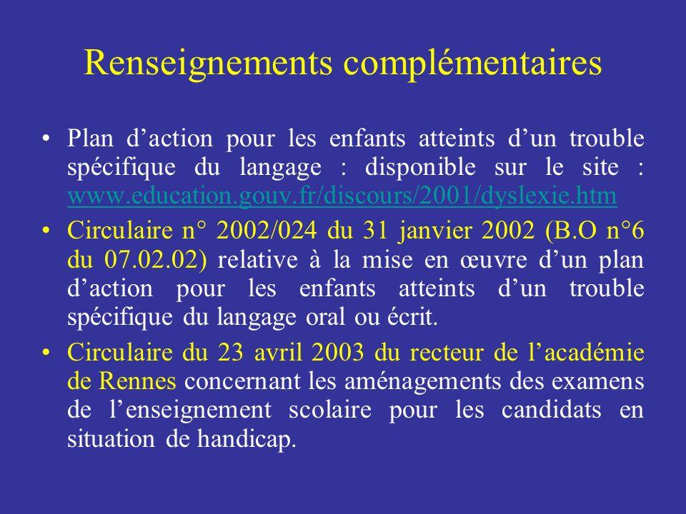 Renseignements complémentaires Plan daction pour les enfants atteints dun trouble spécifique du langage : disponible sur le site : www.education.gouv.