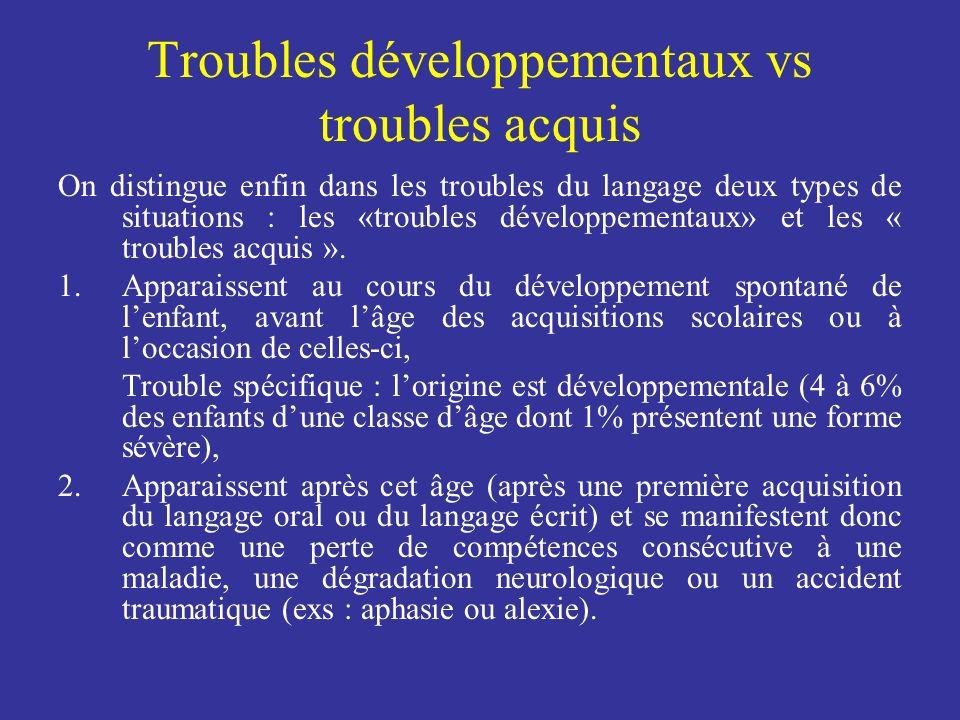 Troubles développementaux vs troubles acquis On distingue enfin dans les troubles du langage deux types de situations : les «troubles développementaux