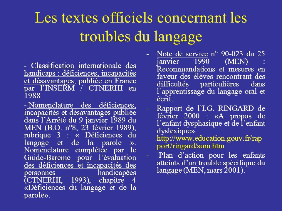 Les textes officiels concernant les troubles du langage - Classification internationale des handicaps : déficiences, incapacités et désavantages, publ