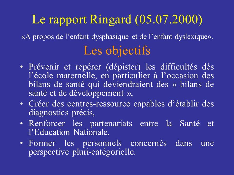 Le rapport Ringard (05.07.2000) «A propos de lenfant dysphasique et de lenfant dyslexique». Les objectifs Prévenir et repérer (dépister) les difficult