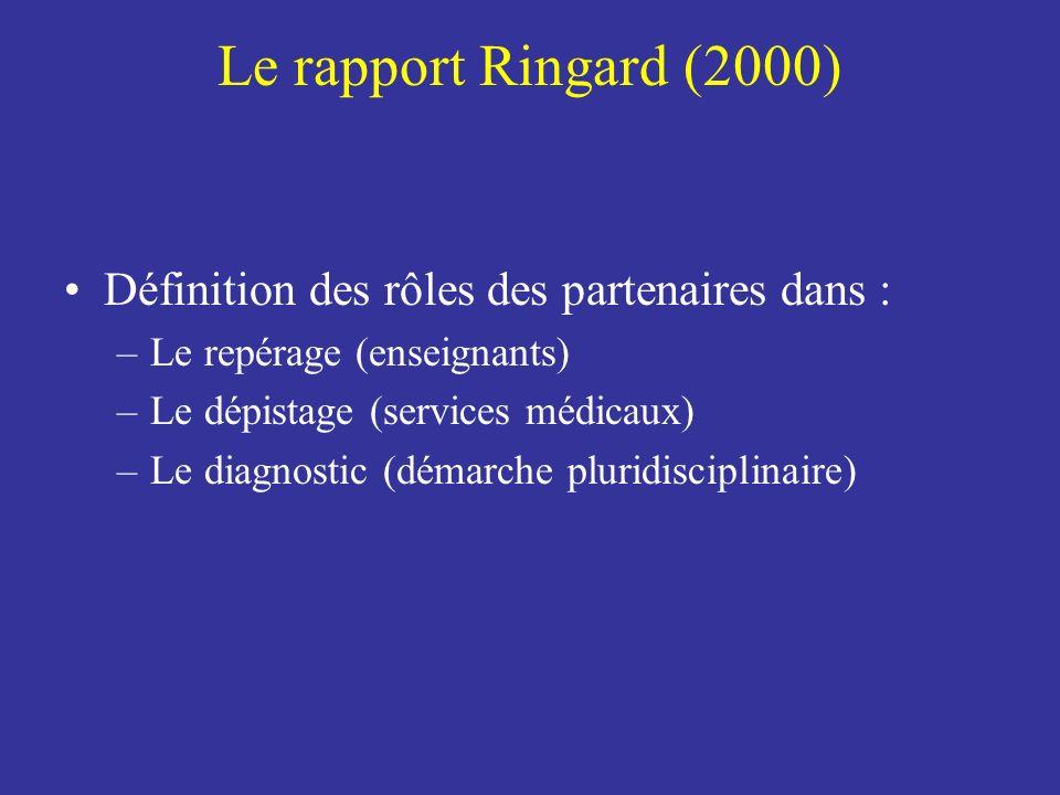 Le rapport Ringard (2000) Définition des rôles des partenaires dans : –Le repérage (enseignants) –Le dépistage (services médicaux) –Le diagnostic (dém