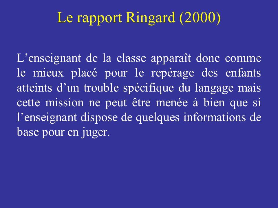 Le rapport Ringard (2000) Lenseignant de la classe apparaît donc comme le mieux placé pour le repérage des enfants atteints dun trouble spécifique du