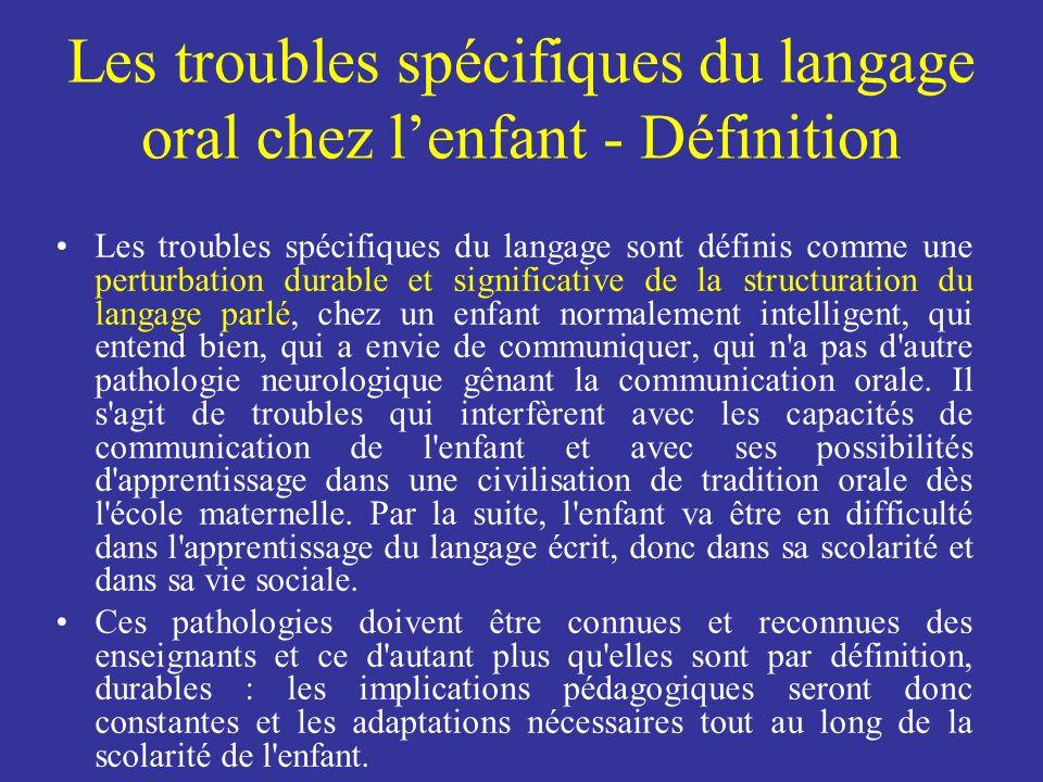 Les troubles spécifiques du langage sont définis comme une perturbation durable et significative de la structuration du langage parlé, chez un enfant