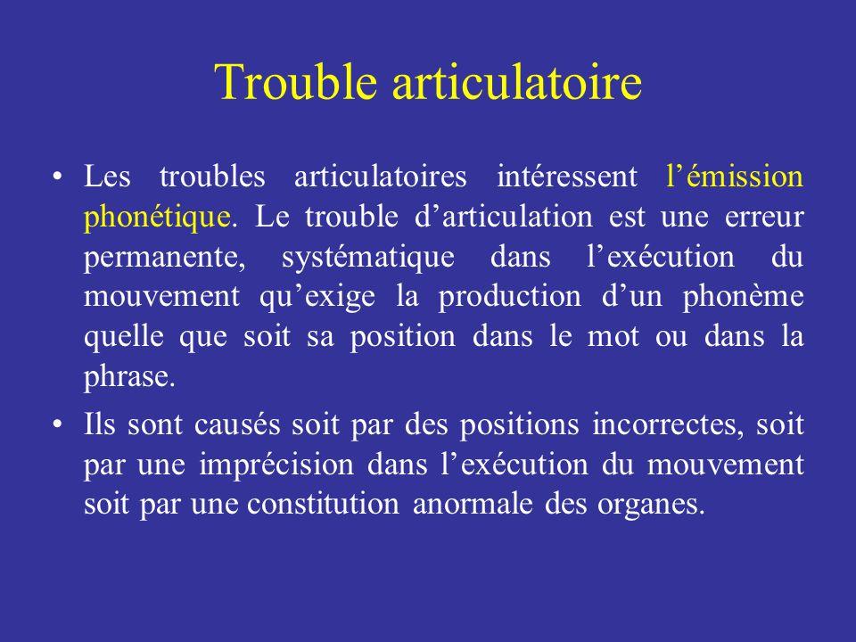Trouble articulatoire Les troubles articulatoires intéressent lémission phonétique. Le trouble darticulation est une erreur permanente, systématique d