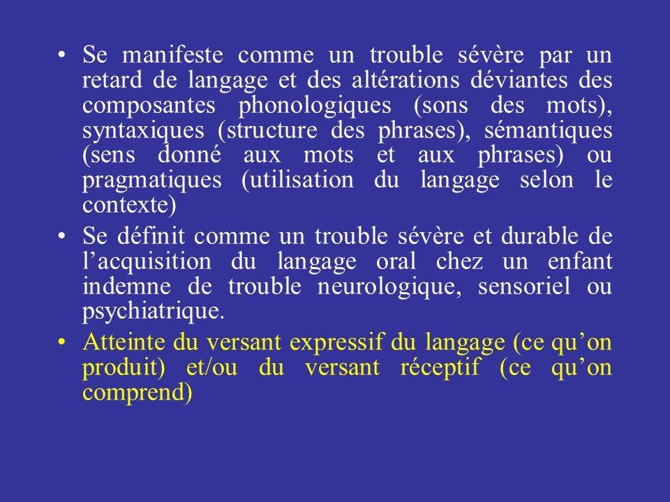 Se manifeste comme un trouble sévère par un retard de langage et des altérations déviantes des composantes phonologiques (sons des mots), syntaxiques