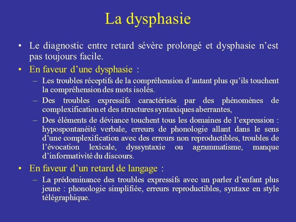 La dysphasie Le diagnostic entre retard sévère prolongé et dysphasie nest pas toujours facile. En faveur dune dysphasie : –Les troubles réceptifs de l