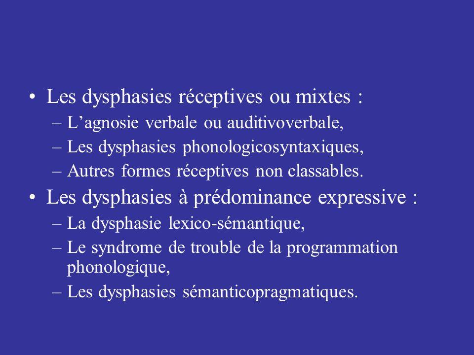Les dysphasies réceptives ou mixtes : –Lagnosie verbale ou auditivoverbale, –Les dysphasies phonologicosyntaxiques, –Autres formes réceptives non clas