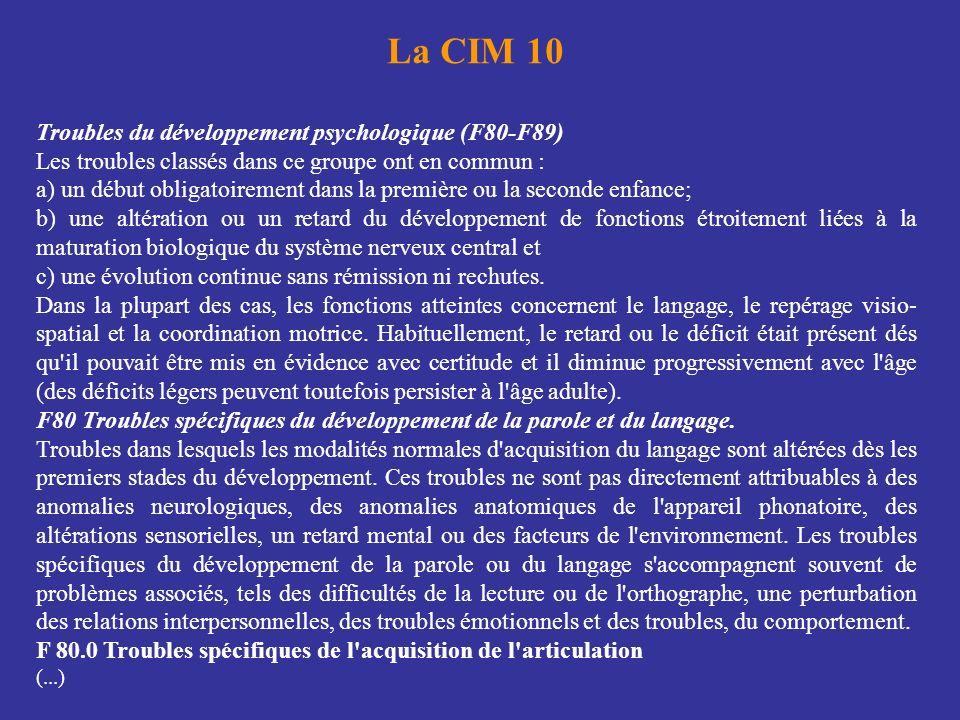 La CIM 10 Troubles du développement psychologique (F80-F89) Les troubles classés dans ce groupe ont en commun : a) un début obligatoirement dans la pr