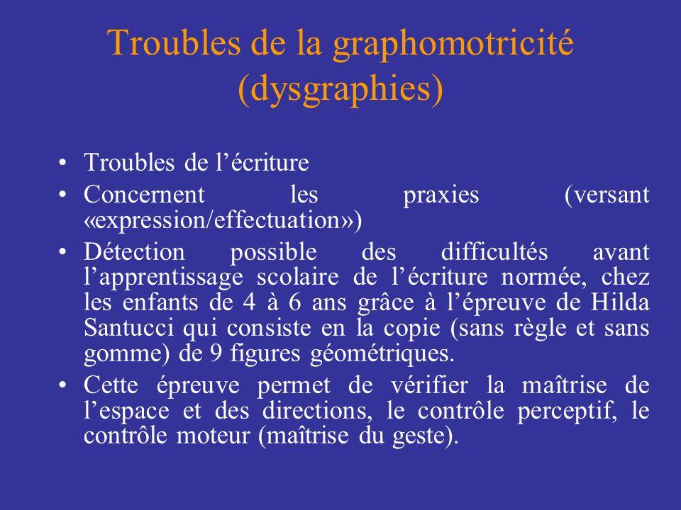 Troubles de la graphomotricité (dysgraphies) Troubles de lécriture Concernent les praxies (versant «expression/effectuation») Détection possible des d
