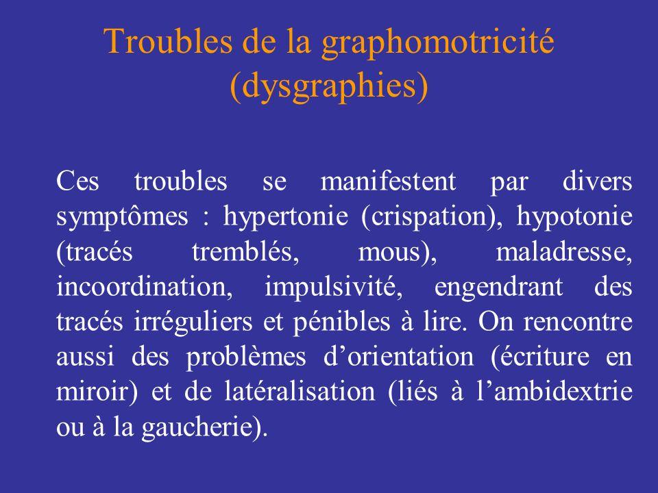 Troubles de la graphomotricité (dysgraphies) Ces troubles se manifestent par divers symptômes : hypertonie (crispation), hypotonie (tracés tremblés, m