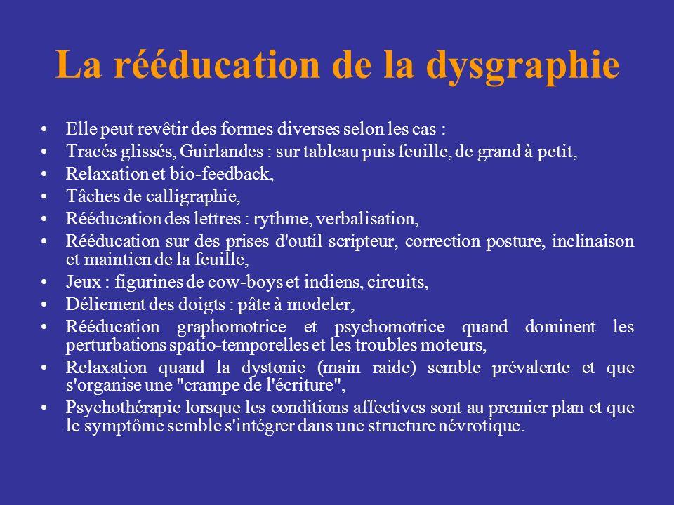 La rééducation de la dysgraphie Elle peut revêtir des formes diverses selon les cas : Tracés glissés, Guirlandes : sur tableau puis feuille, de grand