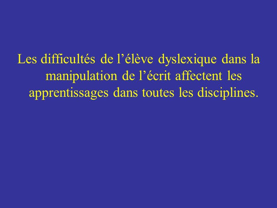 Les difficultés de lélève dyslexique dans la manipulation de lécrit affectent les apprentissages dans toutes les disciplines.