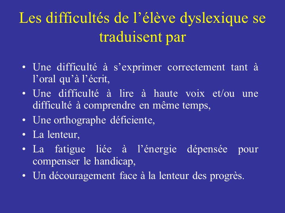 Les difficultés de lélève dyslexique se traduisent par Une difficulté à sexprimer correctement tant à loral quà lécrit, Une difficulté à lire à haute