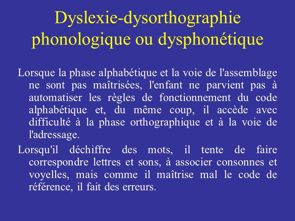 Dyslexie-dysorthographie phonologique ou dysphonétique Lorsque la phase alphabétique et la voie de l'assemblage ne sont pas maîtrisées, l'enfant ne pa