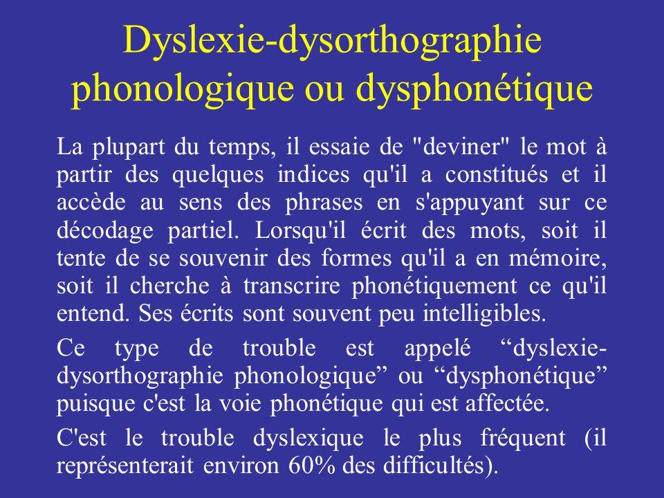 Dyslexie-dysorthographie phonologique ou dysphonétique La plupart du temps, il essaie de