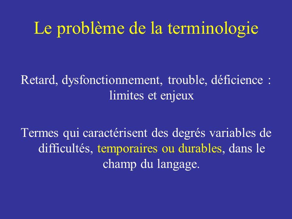 Le problème de la terminologie Retard, dysfonctionnement, trouble, déficience : limites et enjeux Termes qui caractérisent des degrés variables de dif