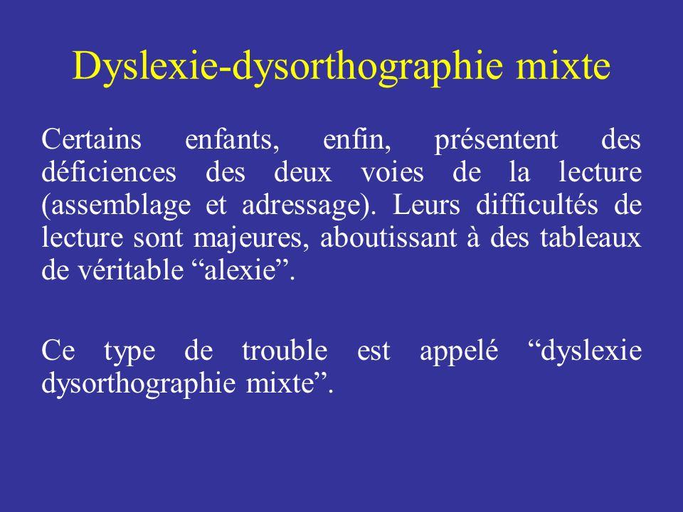 Dyslexie-dysorthographie mixte Certains enfants, enfin, présentent des déficiences des deux voies de la lecture (assemblage et adressage). Leurs diffi