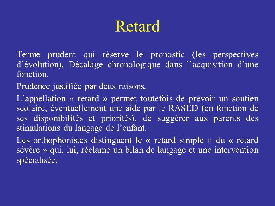 Retard Terme prudent qui réserve le pronostic (les perspectives dévolution). Décalage chronologique dans lacquisition dune fonction. Prudence justifié