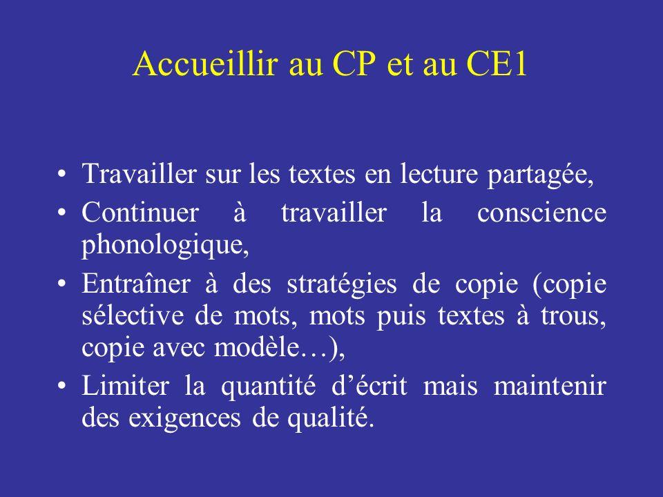 Accueillir au CP et au CE1 Travailler sur les textes en lecture partagée, Continuer à travailler la conscience phonologique, Entraîner à des stratégie