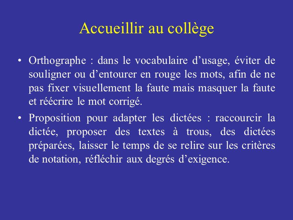 Accueillir au collège Orthographe : dans le vocabulaire dusage, éviter de souligner ou dentourer en rouge les mots, afin de ne pas fixer visuellement