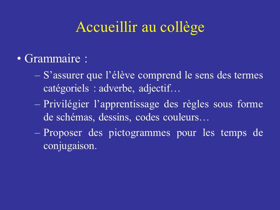 Accueillir au collège Grammaire : –Sassurer que lélève comprend le sens des termes catégoriels : adverbe, adjectif… –Privilégier lapprentissage des rè