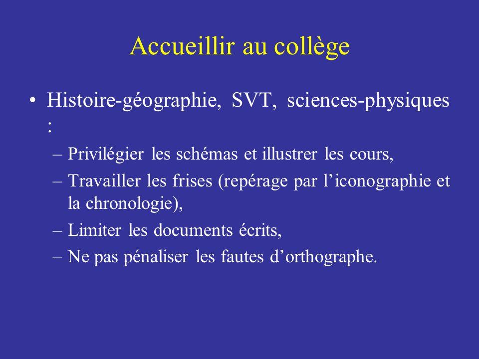 Histoire-géographie, SVT, sciences-physiques : –Privilégier les schémas et illustrer les cours, –Travailler les frises (repérage par liconographie et