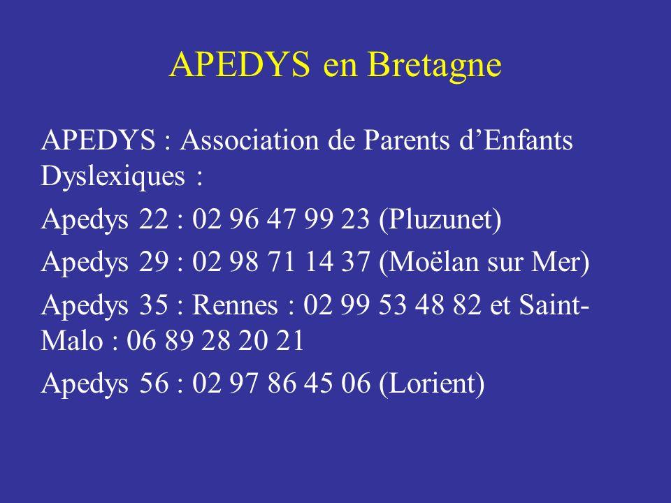APEDYS : Association de Parents dEnfants Dyslexiques : Apedys 22 : 02 96 47 99 23 (Pluzunet) Apedys 29 : 02 98 71 14 37 (Moëlan sur Mer) Apedys 35 : R