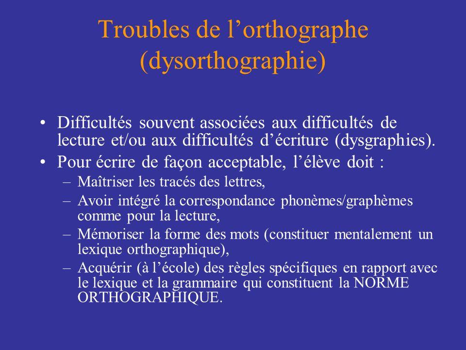 Troubles de lorthographe (dysorthographie) Difficultés souvent associées aux difficultés de lecture et/ou aux difficultés décriture (dysgraphies). Pou