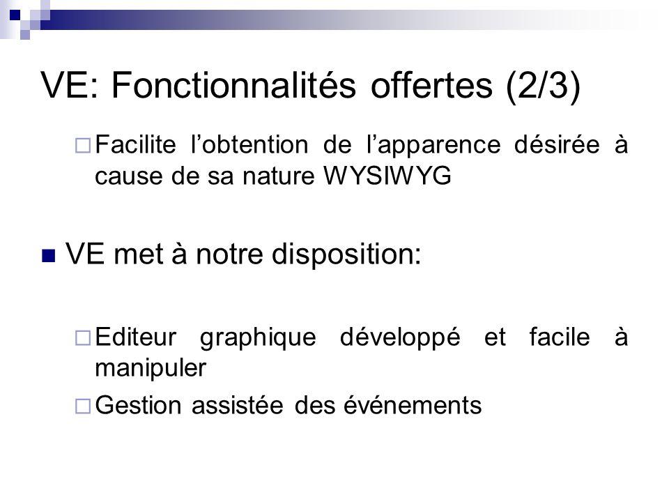 VE: Fonctionnalités offertes (2/3) Facilite lobtention de lapparence désirée à cause de sa nature WYSIWYG VE met à notre disposition: Editeur graphiqu