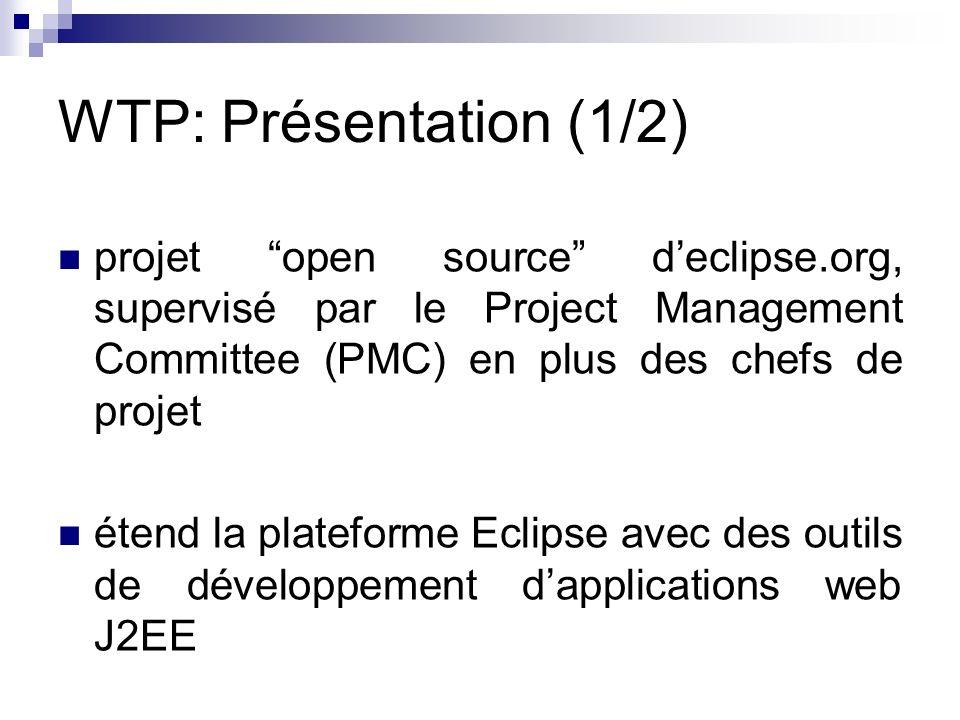 WTP: Présentation (1/2) projet open source declipse.org, supervisé par le Project Management Committee (PMC) en plus des chefs de projet étend la plat