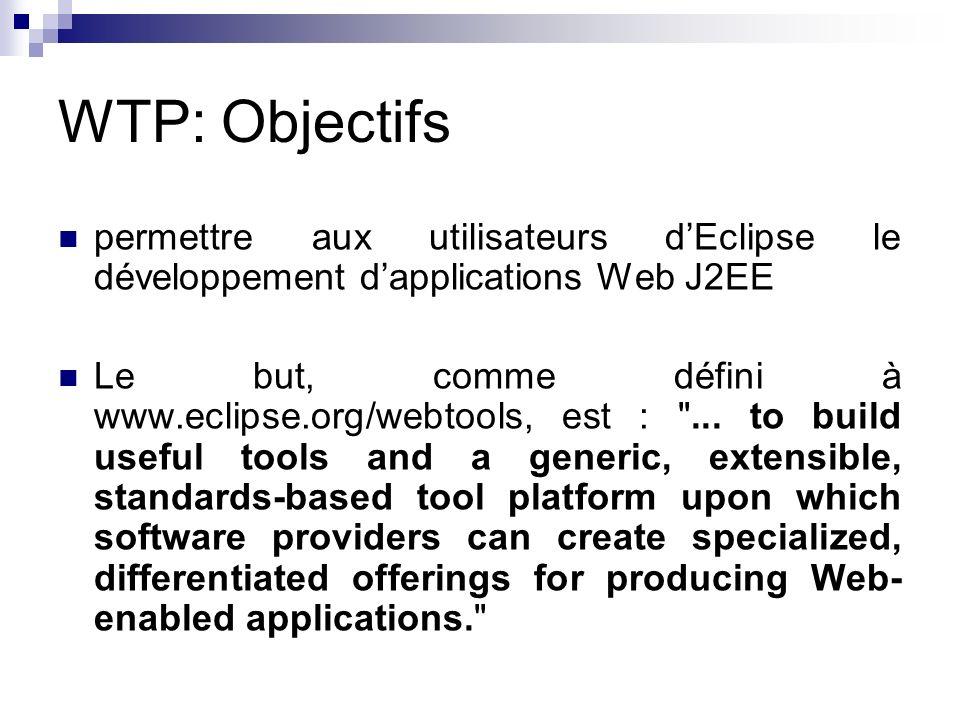 WTP: Objectifs permettre aux utilisateurs dEclipse le développement dapplications Web J2EE Le but, comme défini à www.eclipse.org/webtools, est :