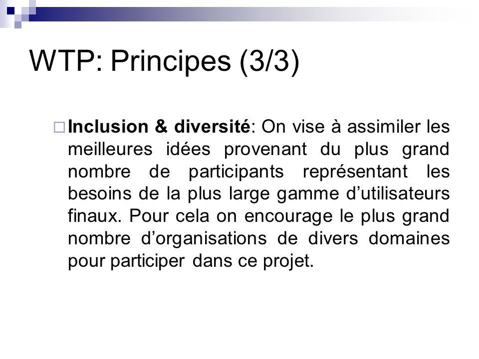 WTP: Principes (3/3) Inclusion & diversité: On vise à assimiler les meilleures idées provenant du plus grand nombre de participants représentant les b