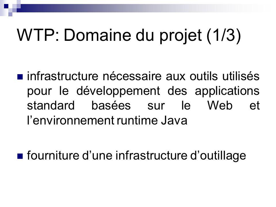 WTP: Domaine du projet (1/3) infrastructure nécessaire aux outils utilisés pour le développement des applications standard basées sur le Web et lenvir
