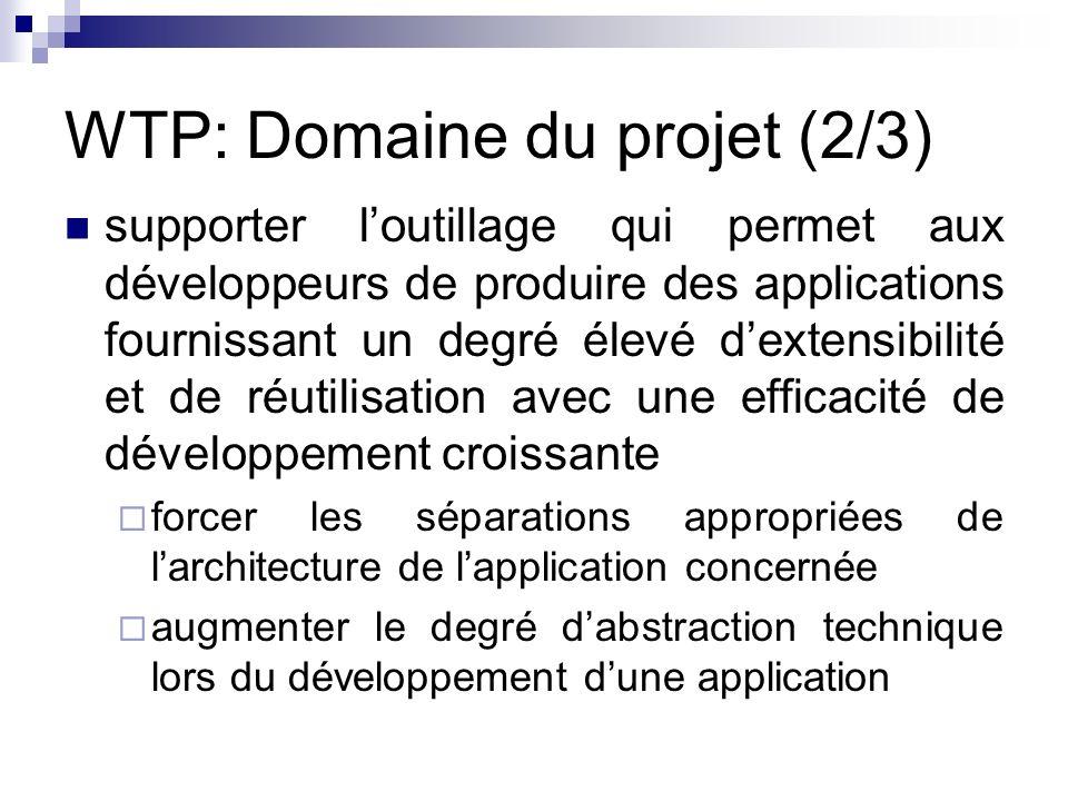 WTP: Domaine du projet (2/3) supporter loutillage qui permet aux développeurs de produire des applications fournissant un degré élevé dextensibilité e