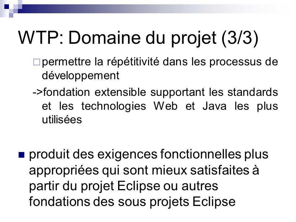 WTP: Domaine du projet (3/3) permettre la répétitivité dans les processus de développement ->fondation extensible supportant les standards et les tech