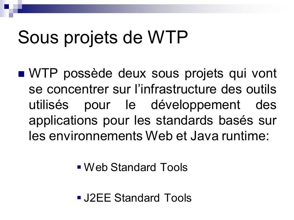 Sous projets de WTP WTP possède deux sous projets qui vont se concentrer sur linfrastructure des outils utilisés pour le développement des application