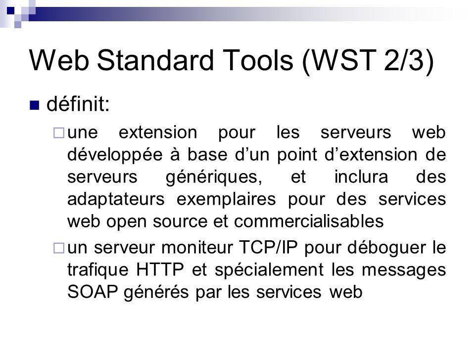 Web Standard Tools (WST 2/3) définit: une extension pour les serveurs web développée à base dun point dextension de serveurs génériques, et inclura de