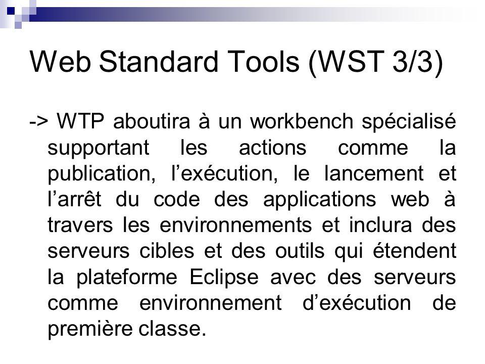 Web Standard Tools (WST 3/3) -> WTP aboutira à un workbench spécialisé supportant les actions comme la publication, lexécution, le lancement et larrêt