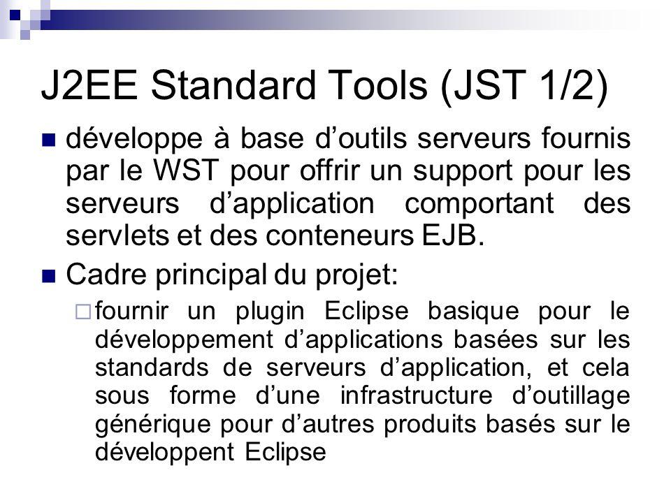 J2EE Standard Tools (JST 1/2) développe à base doutils serveurs fournis par le WST pour offrir un support pour les serveurs dapplication comportant de