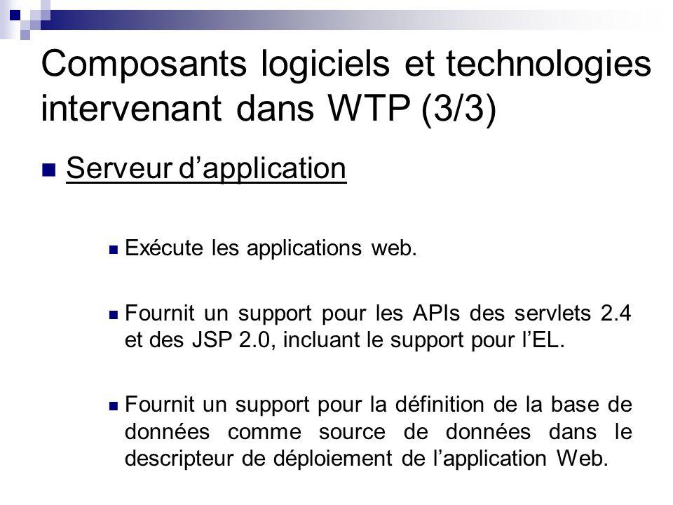 Composants logiciels et technologies intervenant dans WTP (3/3) Serveur dapplication Exécute les applications web. Fournit un support pour les APIs de