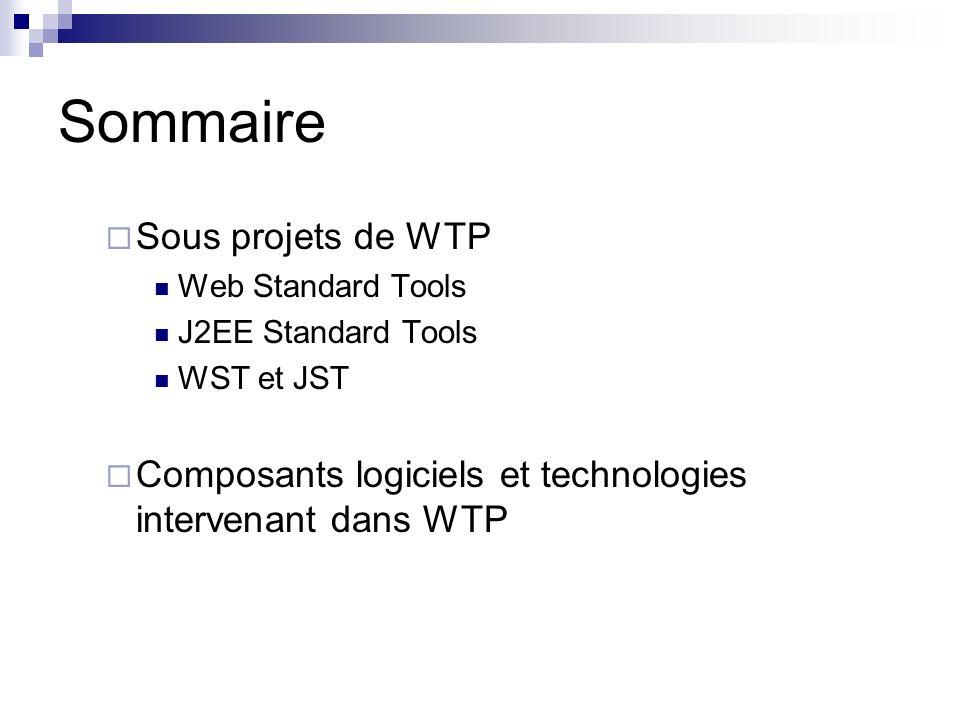 Sommaire Sous projets de WTP Web Standard Tools J2EE Standard Tools WST et JST Composants logiciels et technologies intervenant dans WTP
