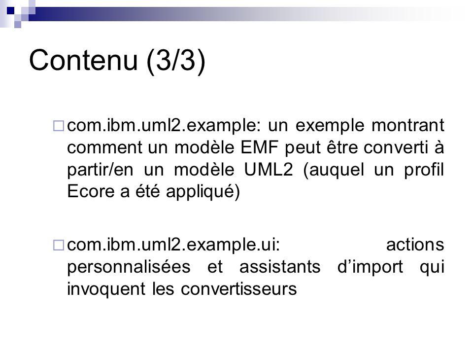 Contenu (3/3) com.ibm.uml2.example: un exemple montrant comment un modèle EMF peut être converti à partir/en un modèle UML2 (auquel un profil Ecore a