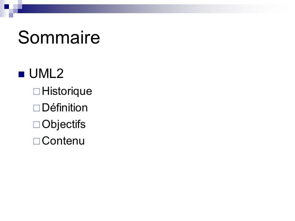 Sommaire UML2 Historique Définition Objectifs Contenu