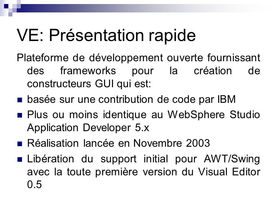 VE: Présentation rapide Plateforme de développement ouverte fournissant des frameworks pour la création de constructeurs GUI qui est: basée sur une co