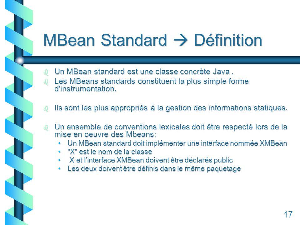 117 MBean Standard Définition b Un MBean standard est une classe concrète Java.