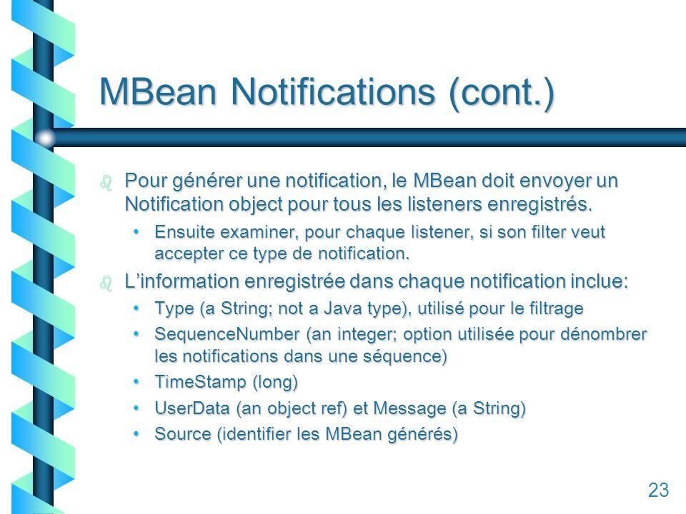 123 MBean Notifications (cont.) b Pour générer une notification, le MBean doit envoyer un Notification object pour tous les listeners enregistrés.