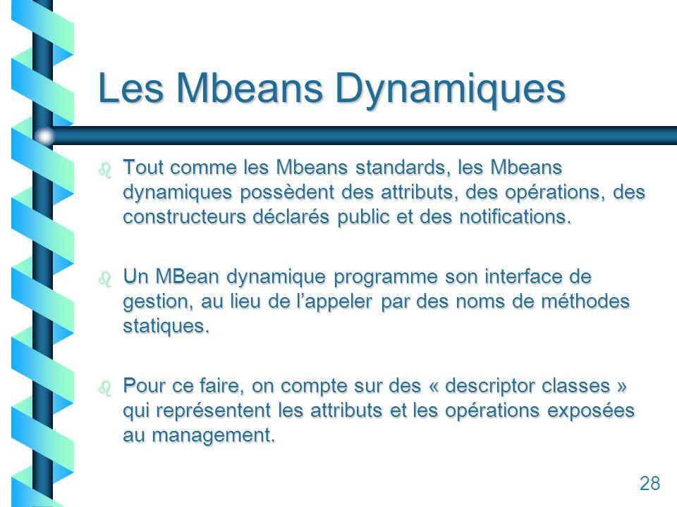 128 Les Mbeans Dynamiques b Tout comme les Mbeans standards, les Mbeans dynamiques possèdent des attributs, des opérations, des constructeurs déclarés public et des notifications.