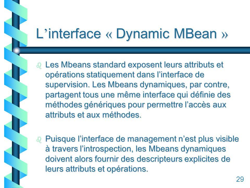 129 L interface « Dynamic MBean » b Les Mbeans standard exposent leurs attributs et opérations statiquement dans linterface de supervision.
