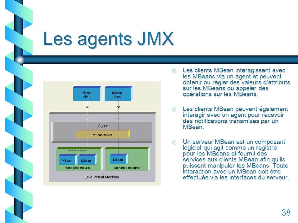 138 Les agents JMX b Les clients MBean interagissent avec les MBeans via un agent et peuvent obtenir ou régler des valeurs d attributs sur les MBeans ou appeler des opérations sur les MBeans.