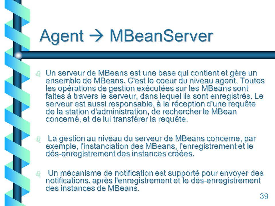 139 Agent MBeanServer b Un serveur de MBeans est une base qui contient et gère un ensemble de MBeans.